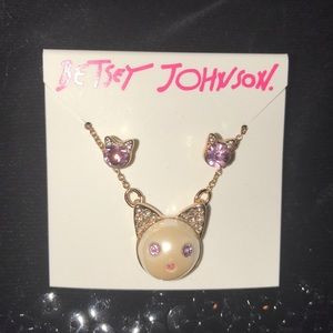 Authentic BETSEY JOHNSON Cat Necklace and Earrings